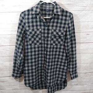 Madewell blue gray plaid flannel shirt